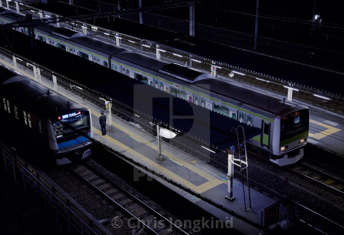 """""""Trains at Railway Station with Conductor on Platform"""" stock image"""
