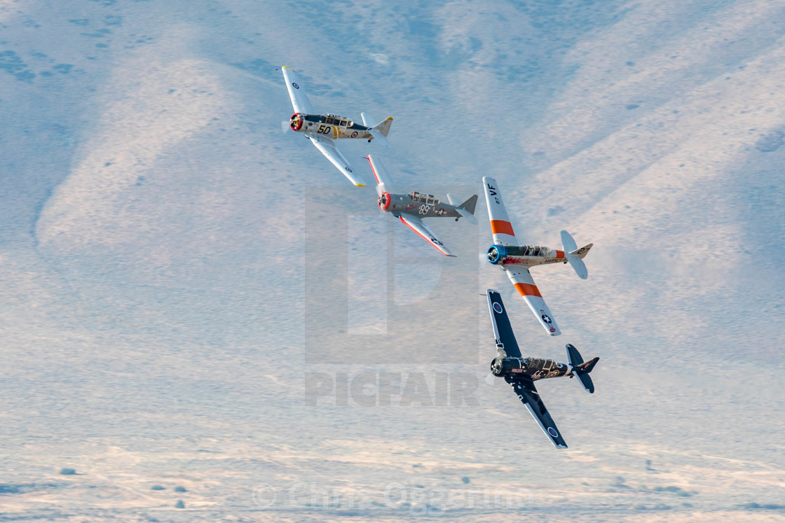 """""""A group of airplanes at the Reno Air Races"""" stock image"""
