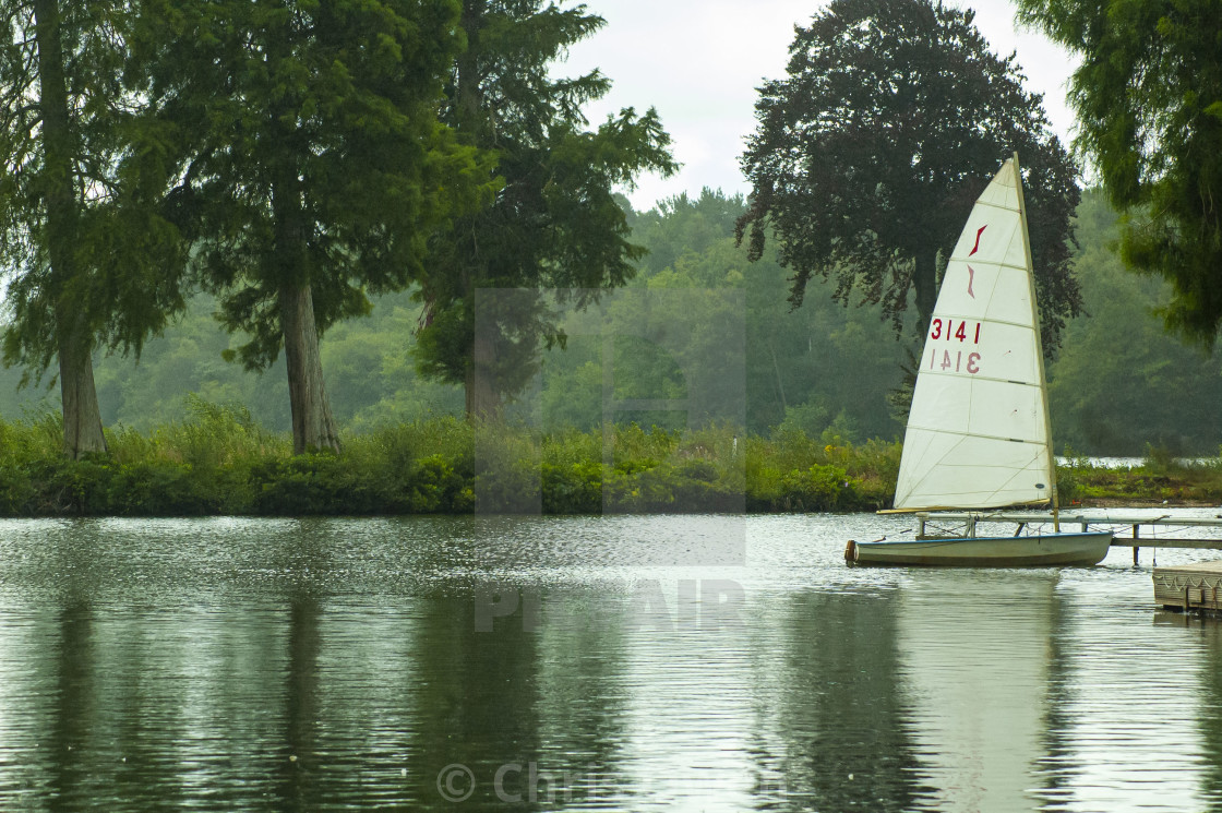 """Sailboat on Hawley Lake"" stock image"