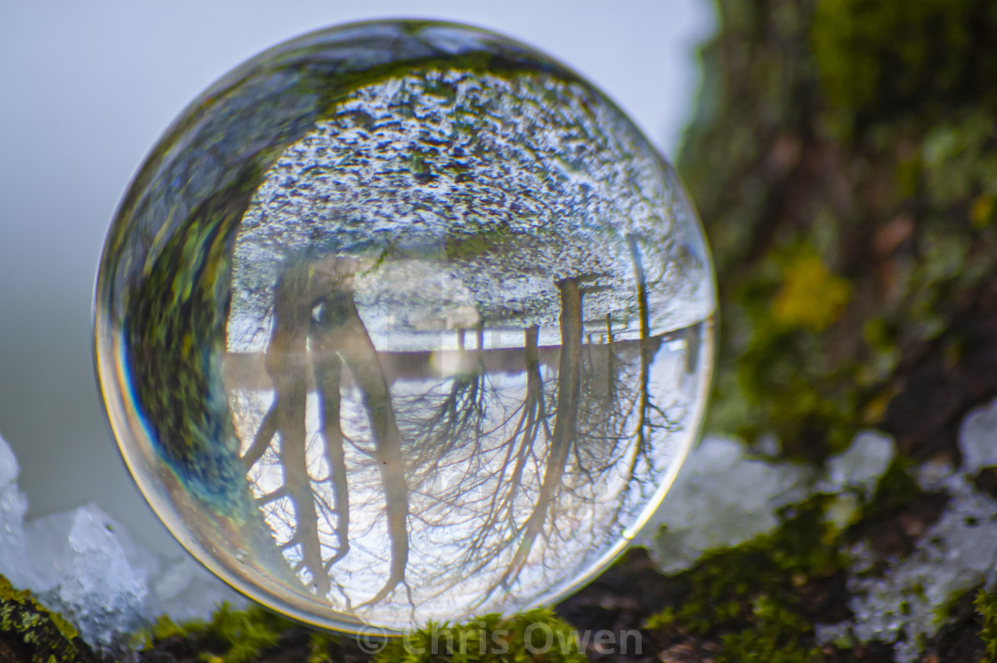 """""""Winter landscape through a crystal ball"""" stock image"""