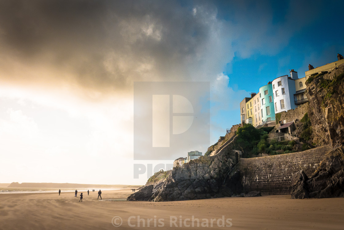 """""""Tenby Beach in Winter"""" stock image"""