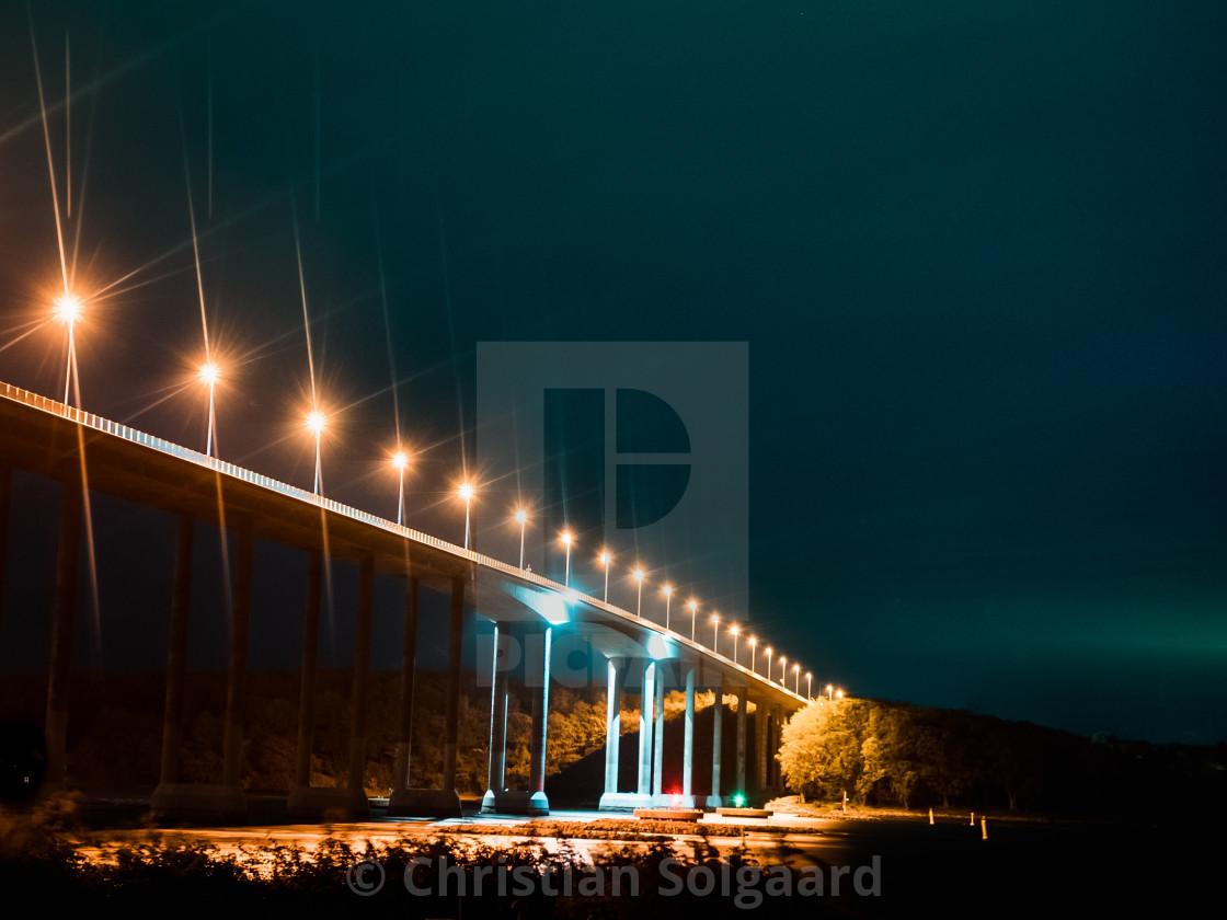 """""""Svendborgsundbroen / Svendborgsund Bridge by Night"""" stock image"""