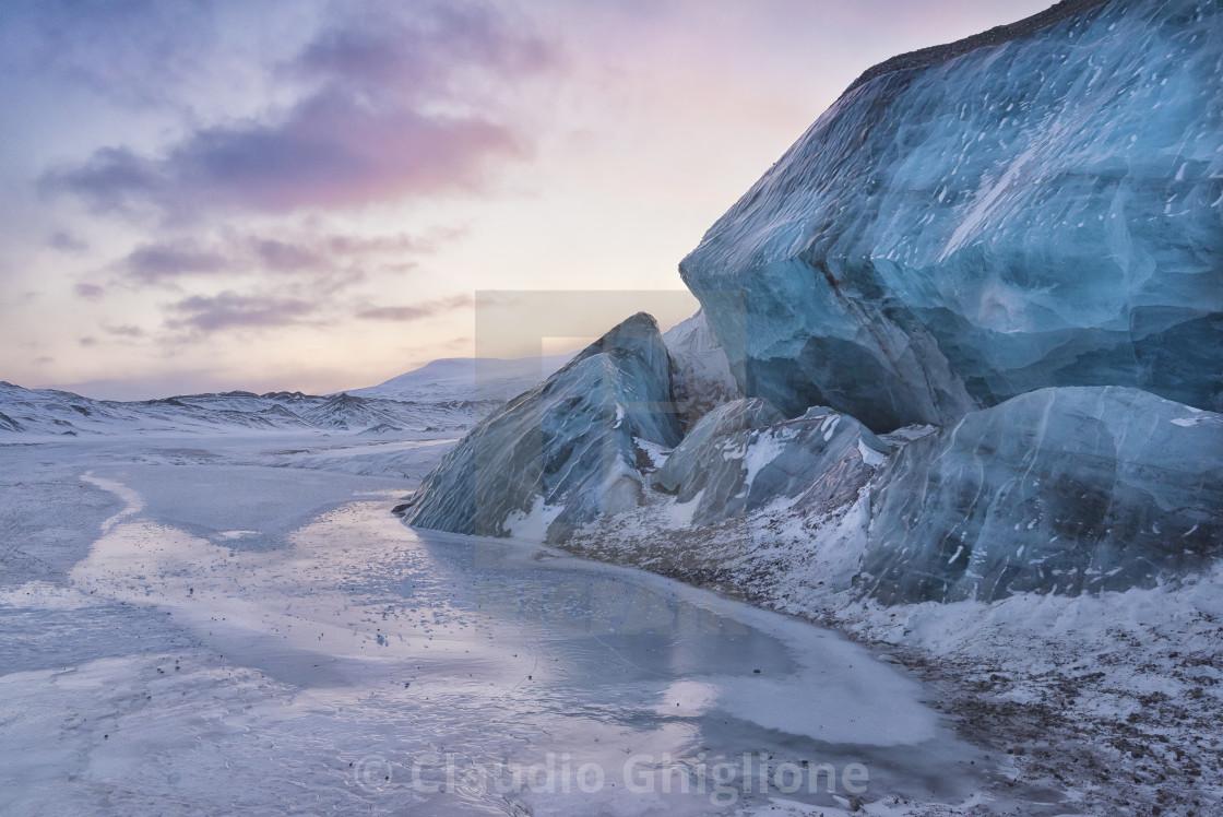 """Moraine at sunset, Svalbard, Norway, North Pole"" stock image"