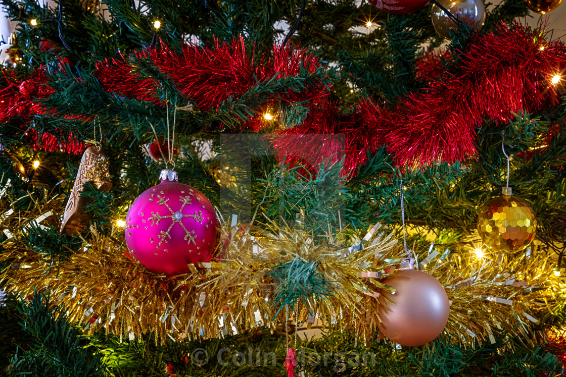 """""""Christmas Tree Baubles & Tinsel-4087"""" stock image"""