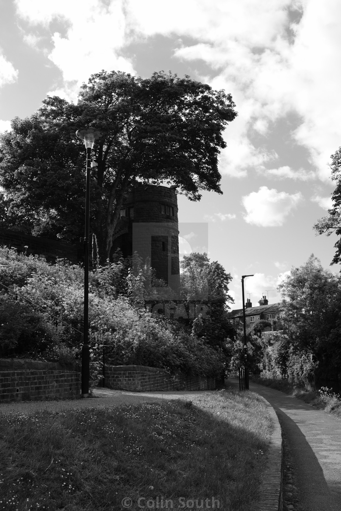 """King Charles Tower from the towpath."" stock image"