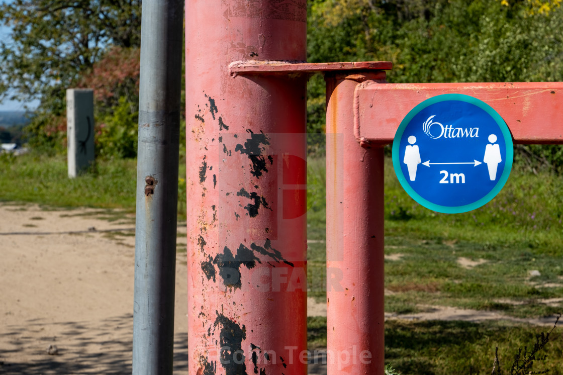 City of Ottawa Physical Distancing Decal in a Park