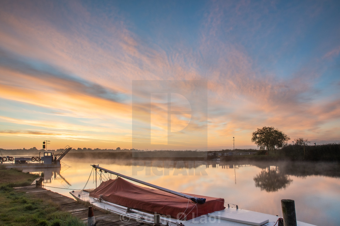 """Sunrise on the Yare"" stock image"