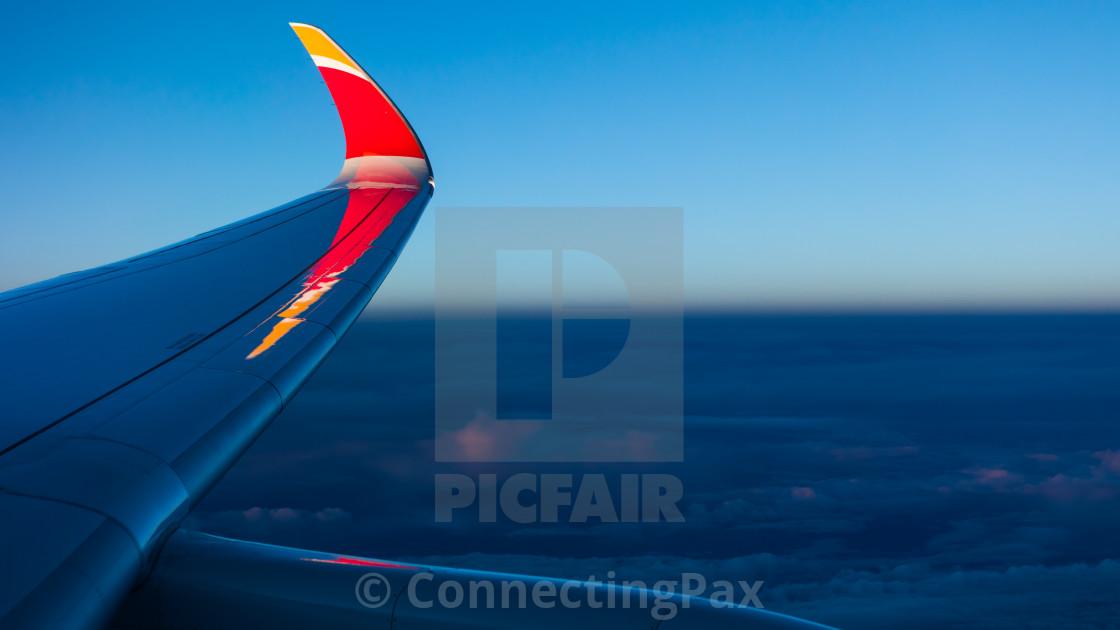 """Airbus A350 Iberia Paco de Lucía EC-MYX Sunset"" stock image"