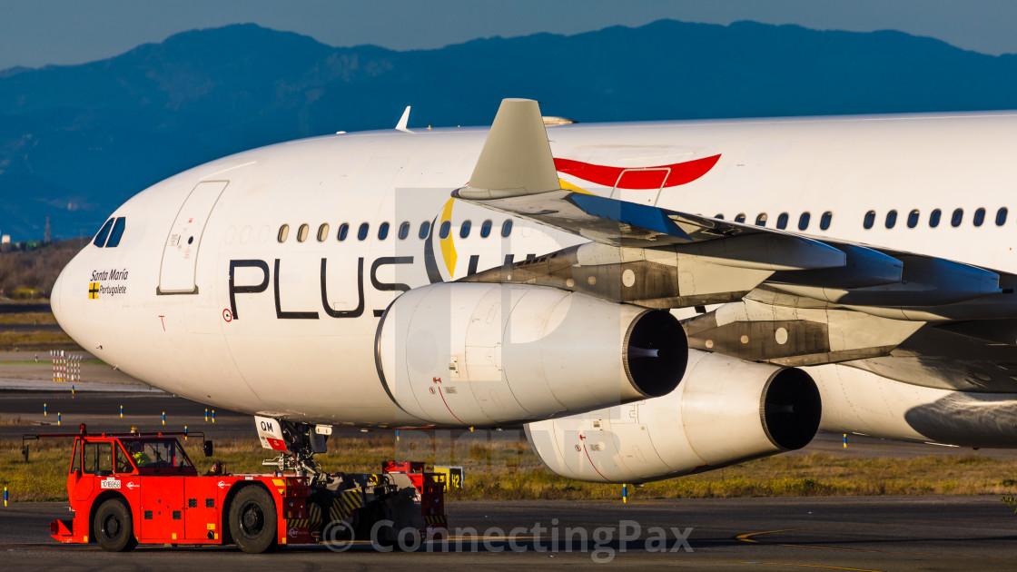 """Airbus A340 Plus Ultra Santa María Portugalete EC-MQM"" stock image"