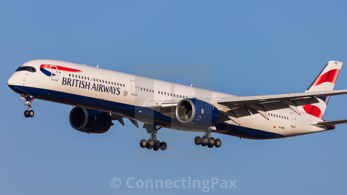 """""""Airbus A350 British Airways G-XWBA"""" stock image"""