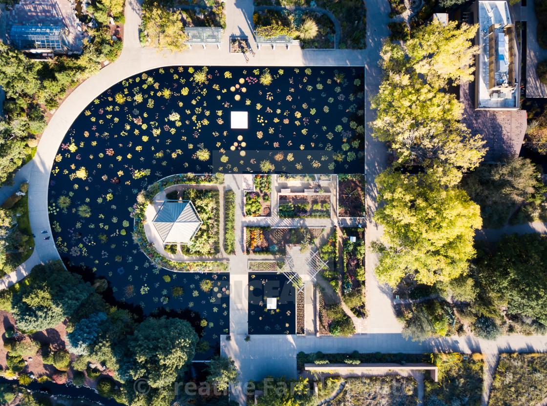 """""""Lake in botanic garden aerial view"""" stock image"""