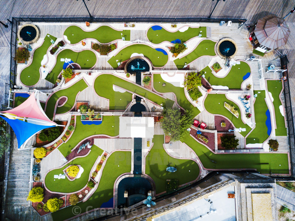 """""""Mini golf course aerial view"""" stock image"""