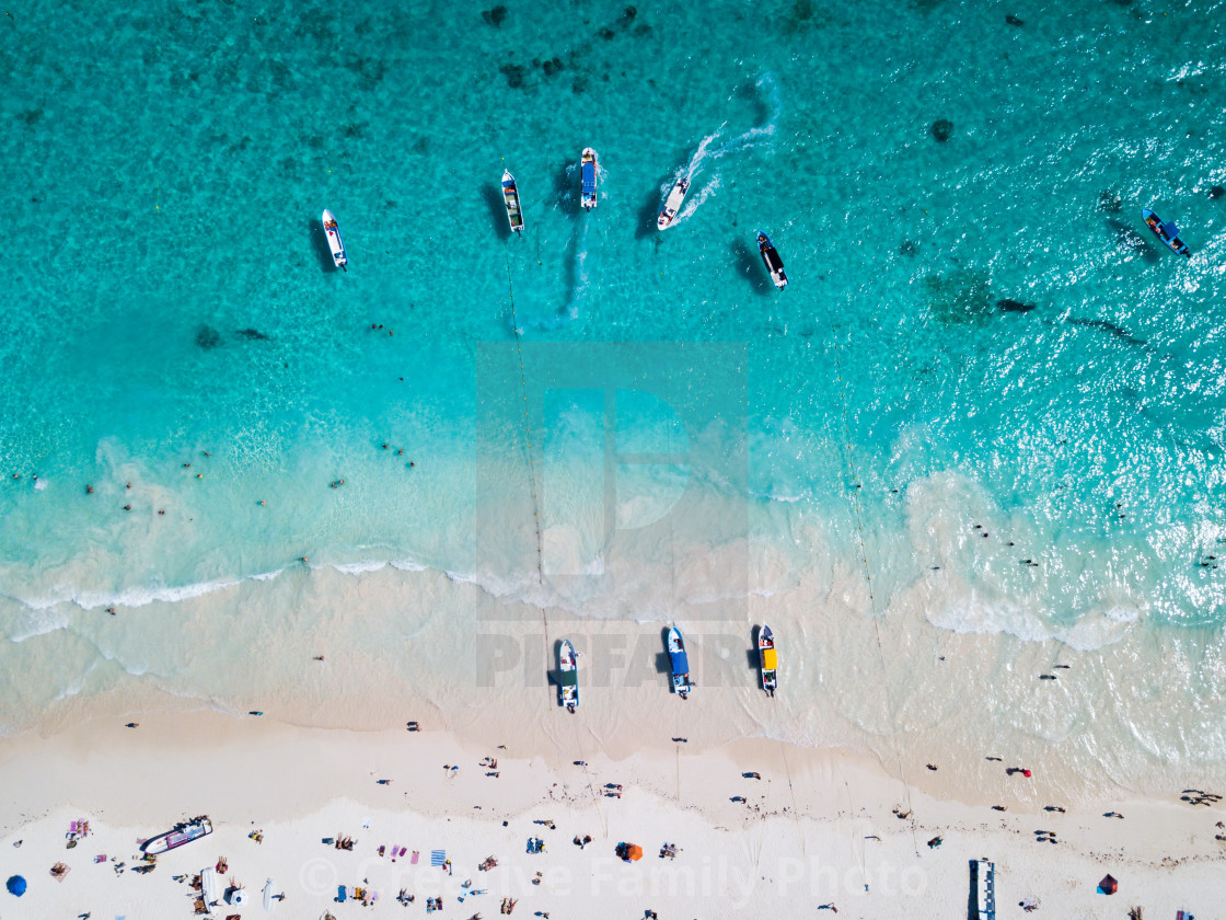 """""""Boats at the beach in Tulum Mexico aerial view"""" stock image"""