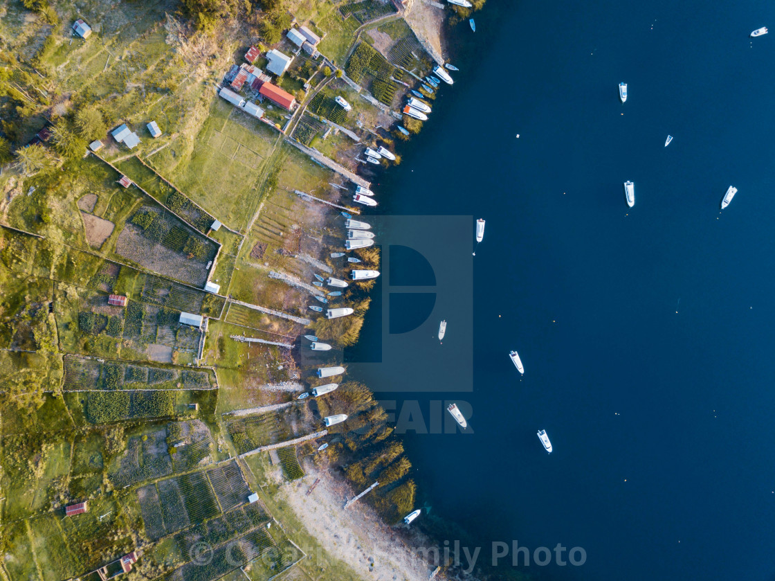 """""""Aerial photo of boats at lake Titicaca"""" stock image"""