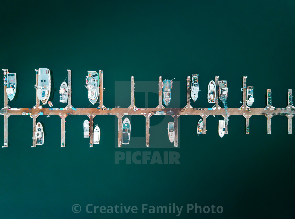 """Aerial photo of docked boats"" stock image"