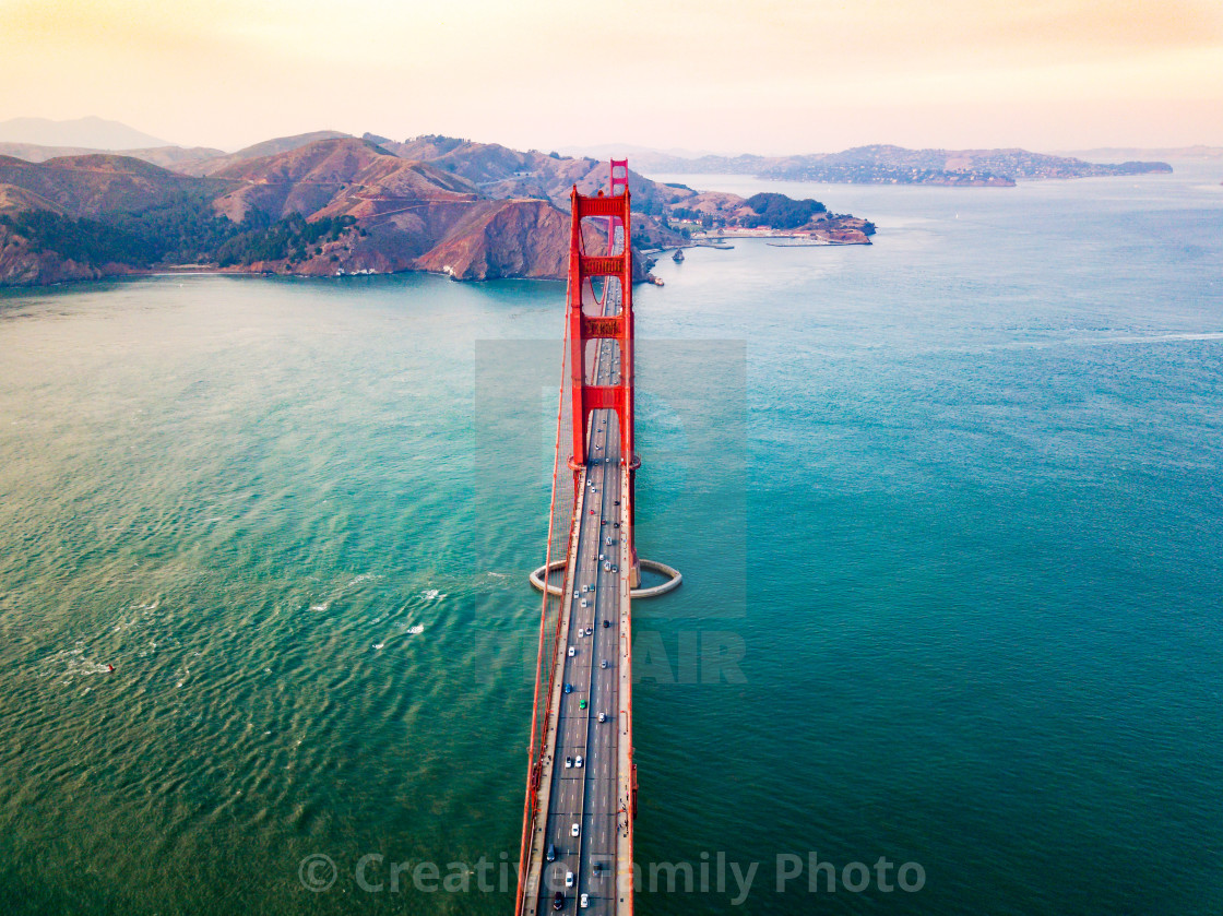 """Golden Gate bridge in San Francisco at sunset aerial"" stock image"