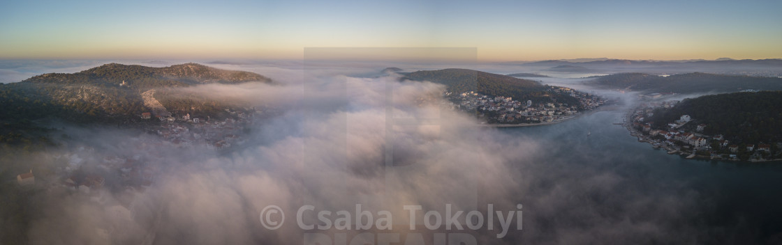 """Tisno dawn (panorama)"" stock image"