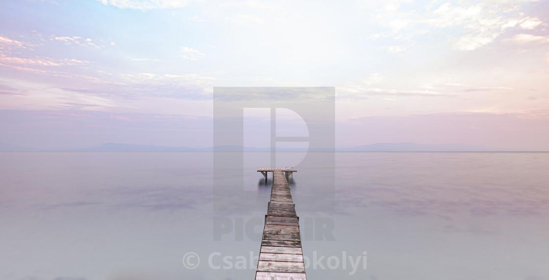"""Early at the lake"" stock image"
