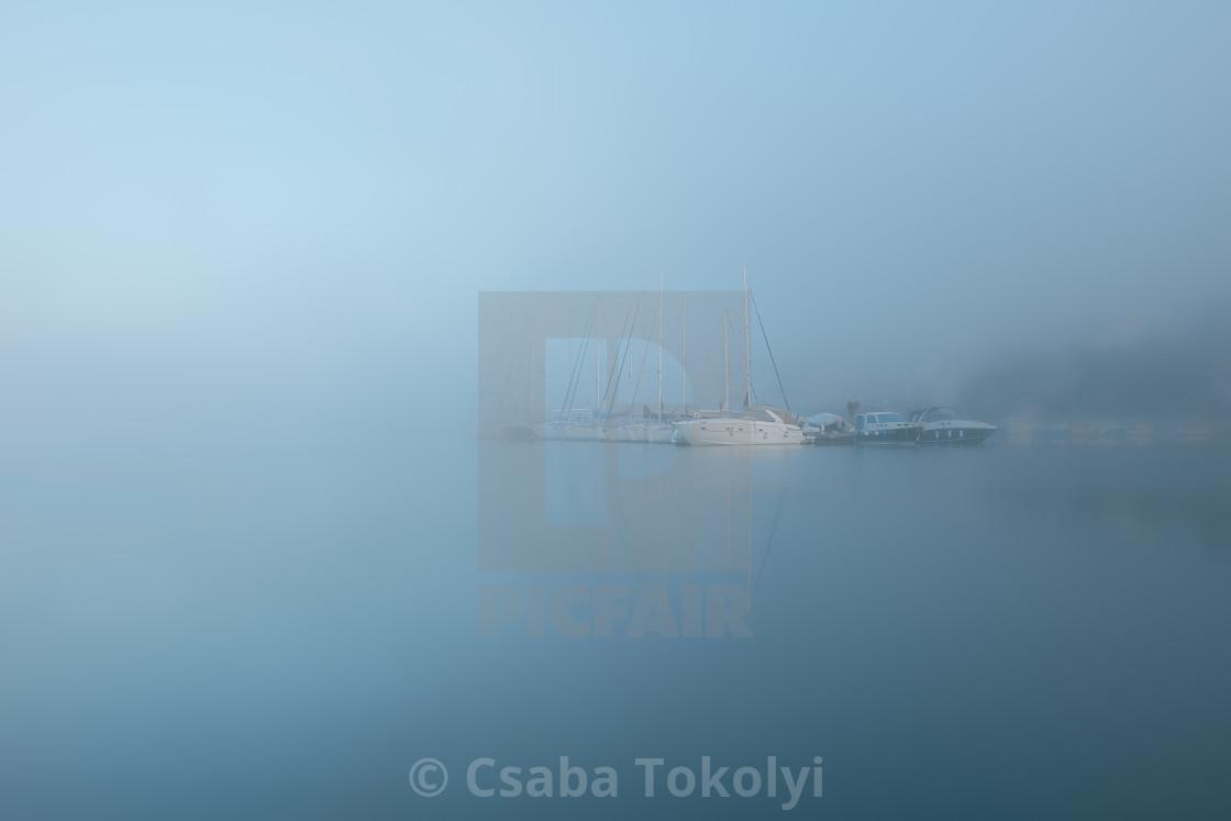 """Autumn in Tisno harbour"" stock image"