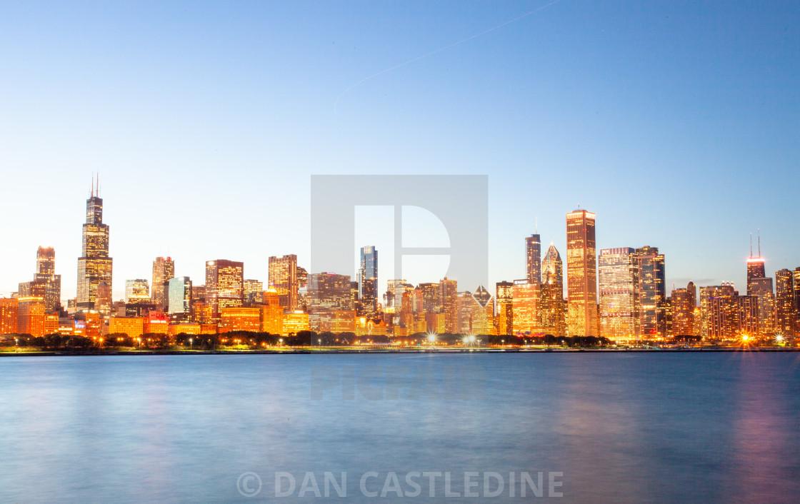 """Chicago Skyline At Twilight"" stock image"