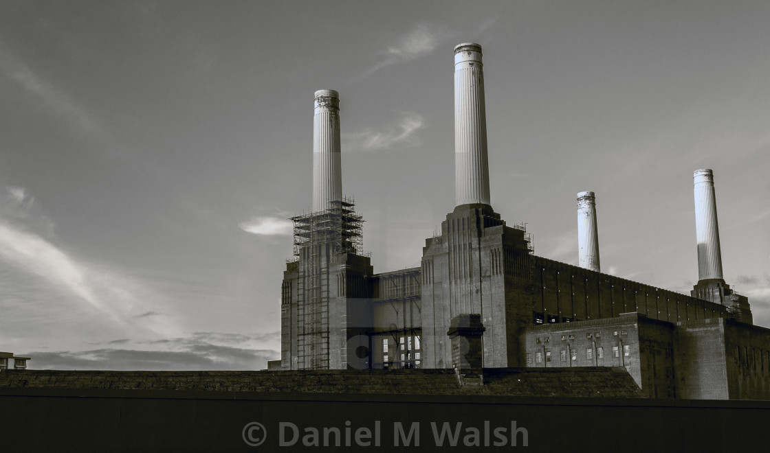 """Battersea Power station in London UK prior to refurbishment."" stock image"