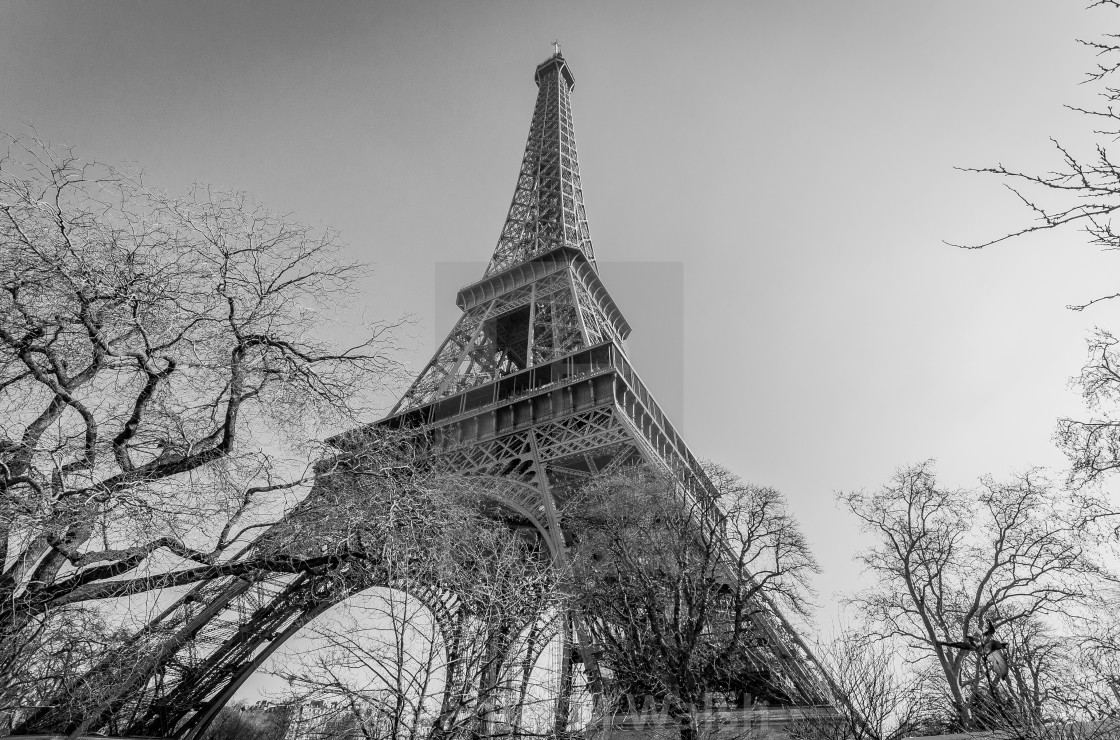 """Eiffel tower in Paris in black and white."" stock image"
