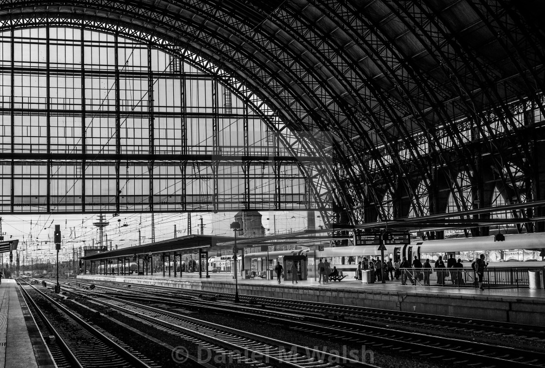 """German railway station interior in black & white"" stock image"