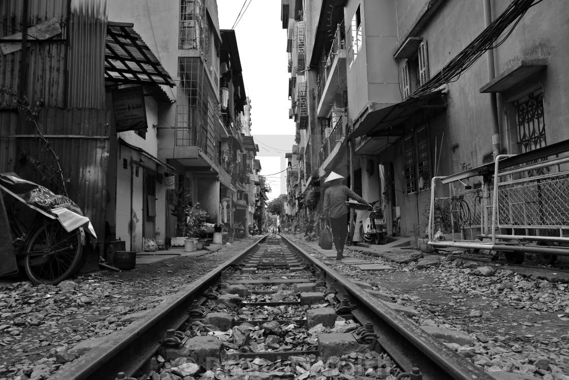"""""Train Street"" in Hanoi."" stock image"
