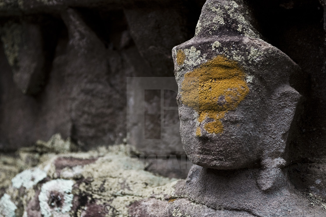 """""""Stone bust facade carving, Siam Reap Cambodia"""" stock image"""