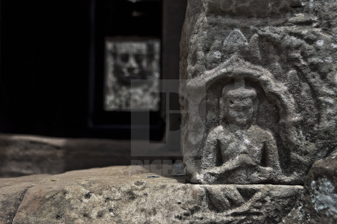 """""""Carving at the top of steps in Cambodia (2 of 2)"""" stock image"""