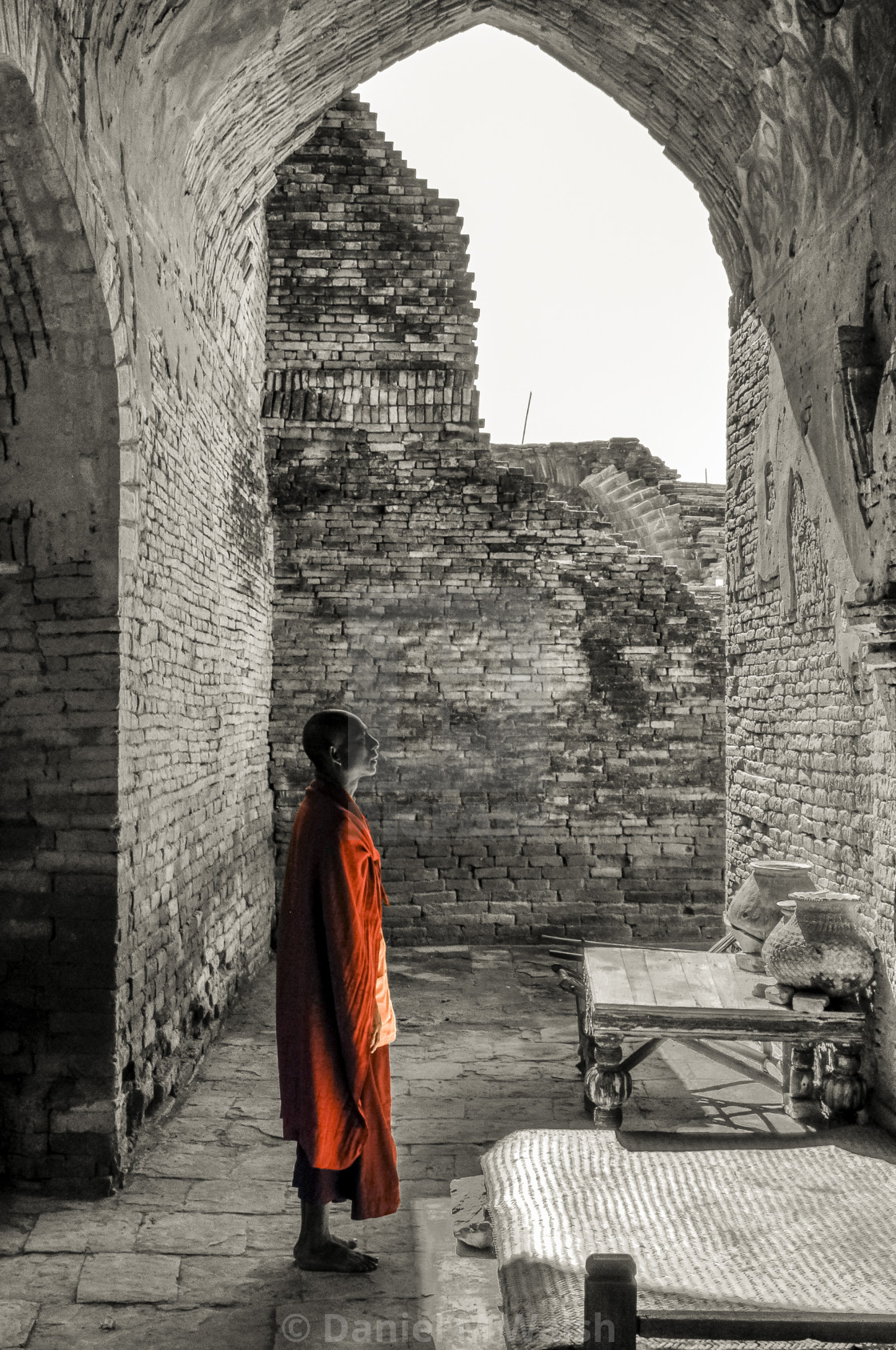"""Monk in Temple ruins."" stock image"