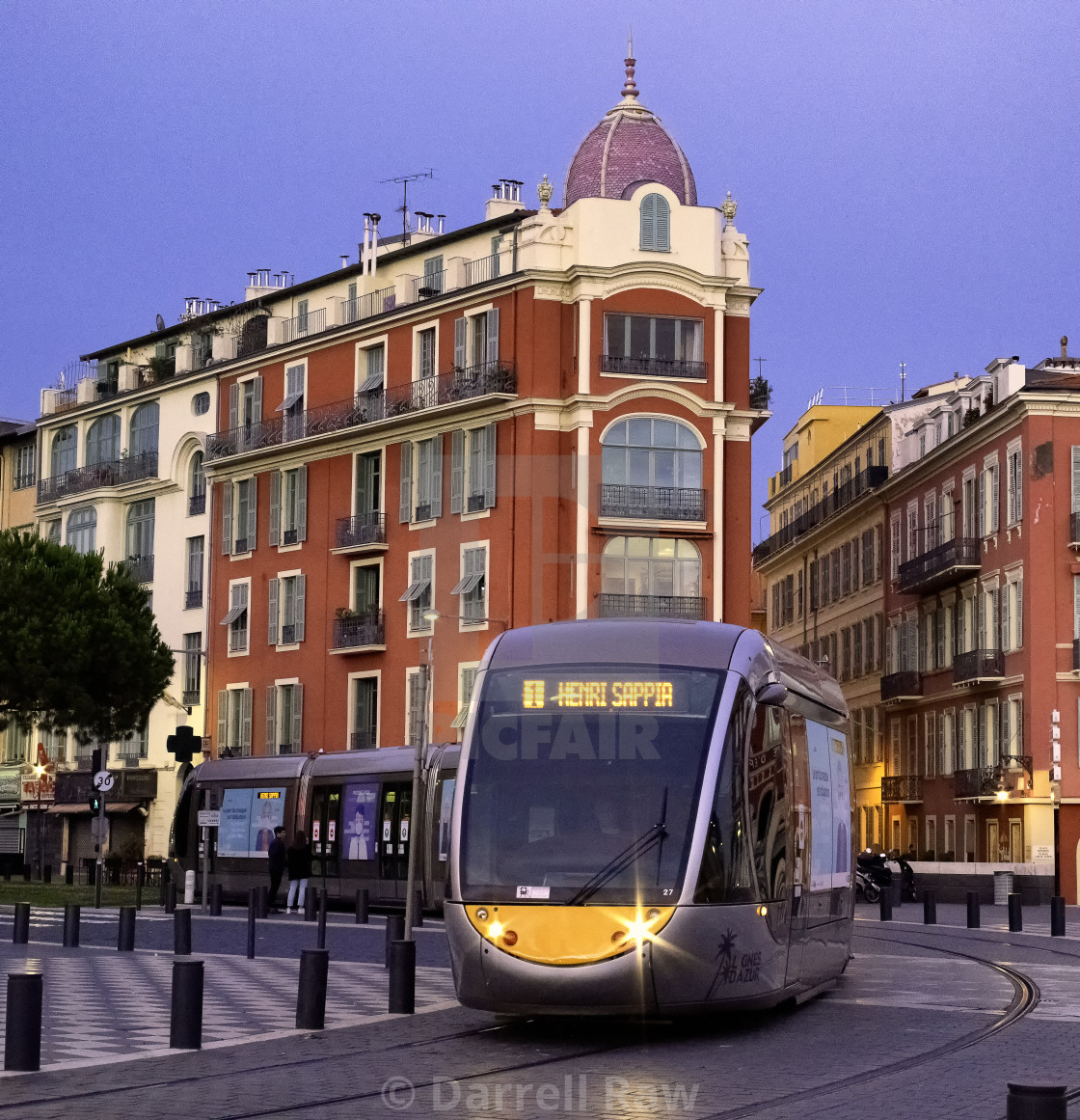 """Tram travelling through Massena Square, Nice, France"" stock image"