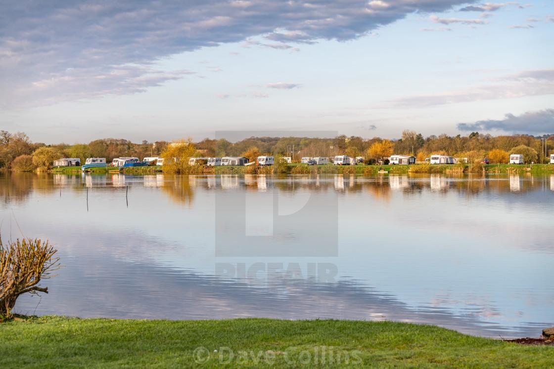 """Lakeside Caravans at Ellerton Park, Yorkshire, England"" stock image"