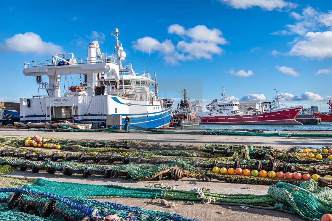 """Fishing Nets Drying on the Quay, Fraserburgh, Scotland"" stock image"