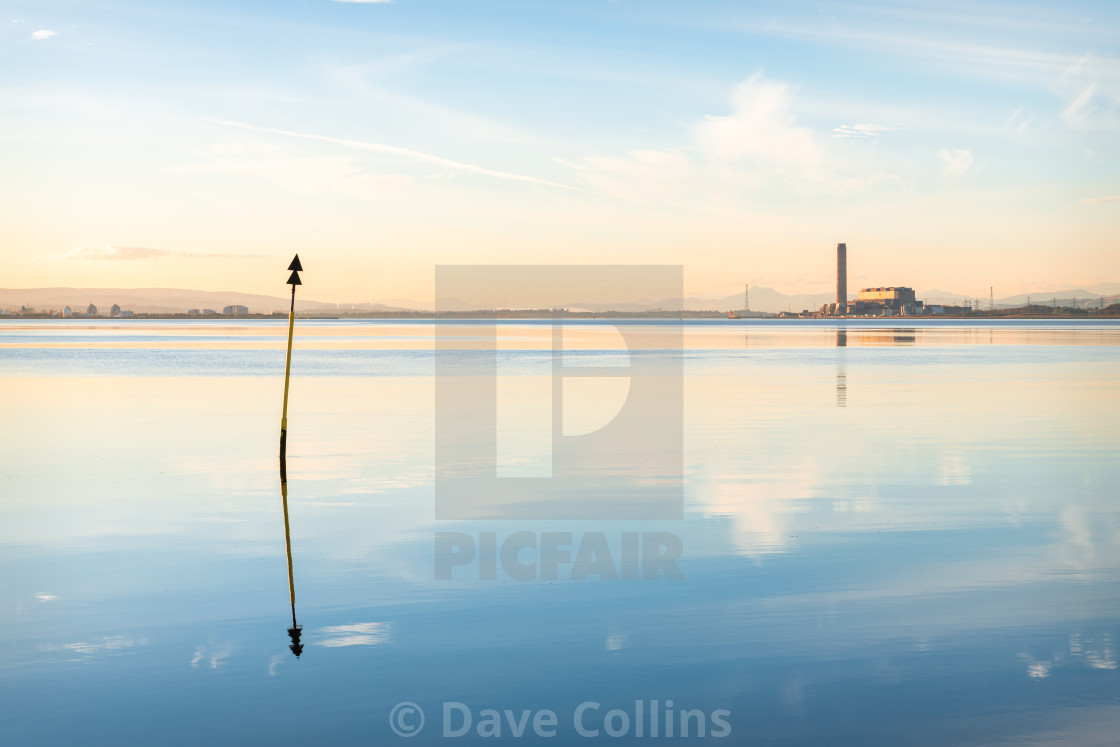 """""""The Firth of Forth, with a distant Longannet Power station"""" stock image"""