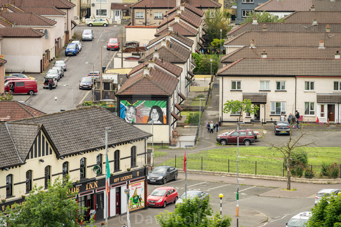 """""""Political Mural in a Londonderry / Derry Housing Estate"""" stock image"""