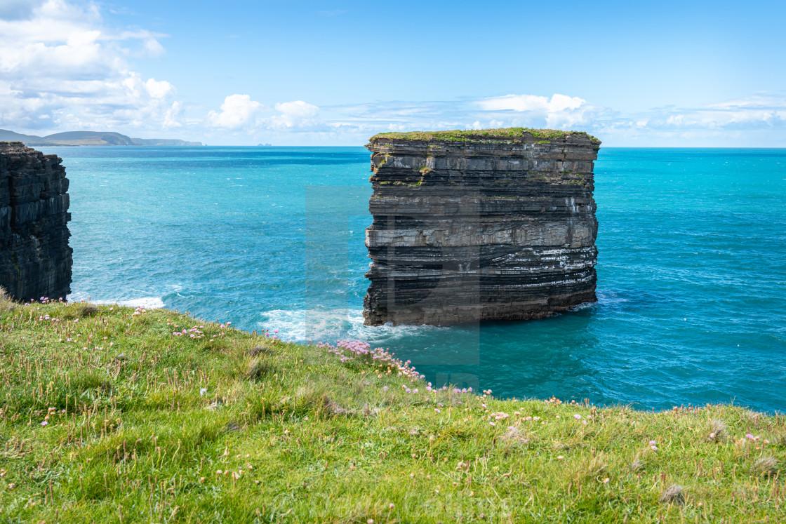"""Sea Stack, Downpatrick Head, Co Mayo, Ireland"" stock image"