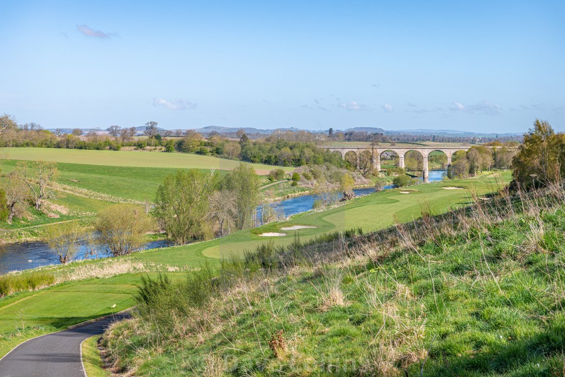 """""""Roxburgh Viaduct over River Teviot from Roxburghe Golf Course"""" stock image"""