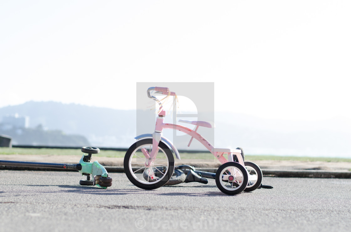 """""""Tricycle and scooter"""" stock image"""