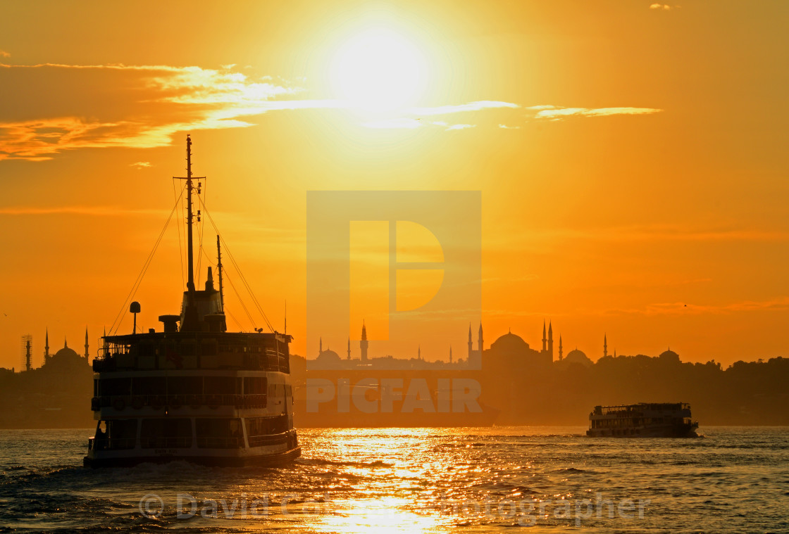"""""""Istanbul ferries at sunset"""" stock image"""