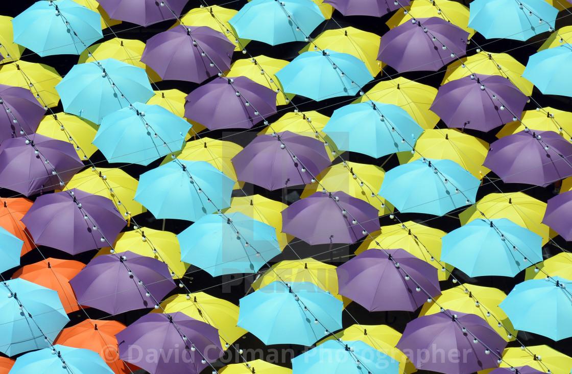 """Colourful umbrella roof"" stock image"