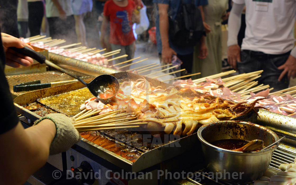 """""""Chinese street food seller"""" stock image"""