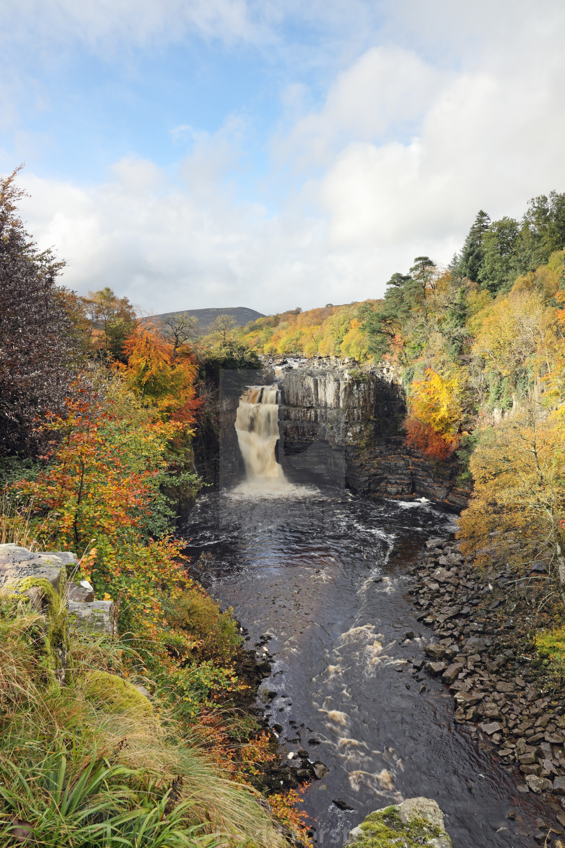 """""""Spectacular Autumn Colours, High Force, Teesdale, County Durham, UK"""" stock image"""
