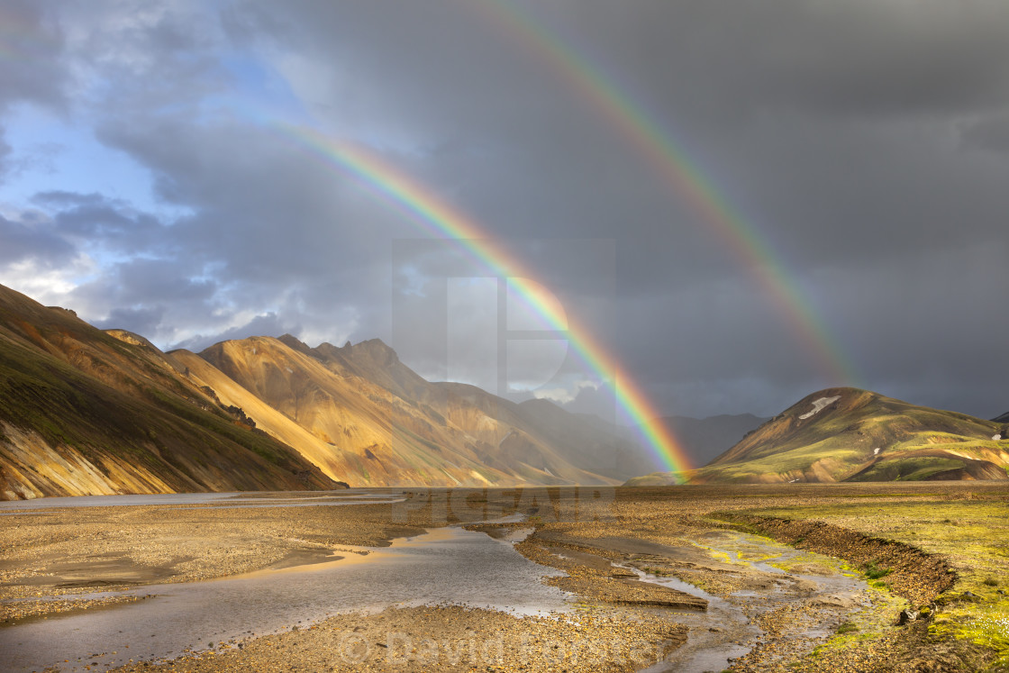 """Rainbows over the Barmur Mountains, Landmannalaugar, Iceland"" stock image"