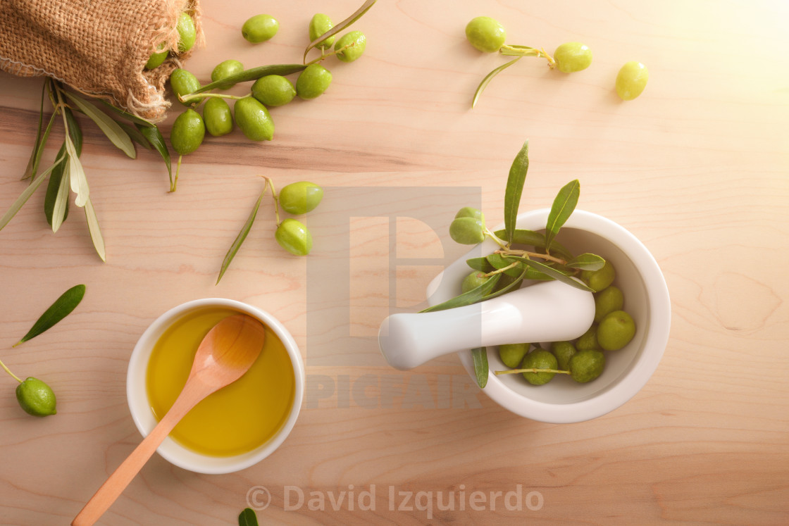 """Olive oil essence homemade top view"" stock image"