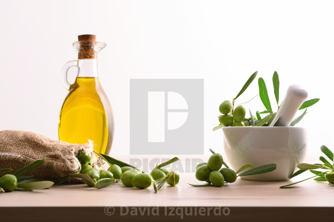 """Olive oil of olives from organic farming white background"" stock image"