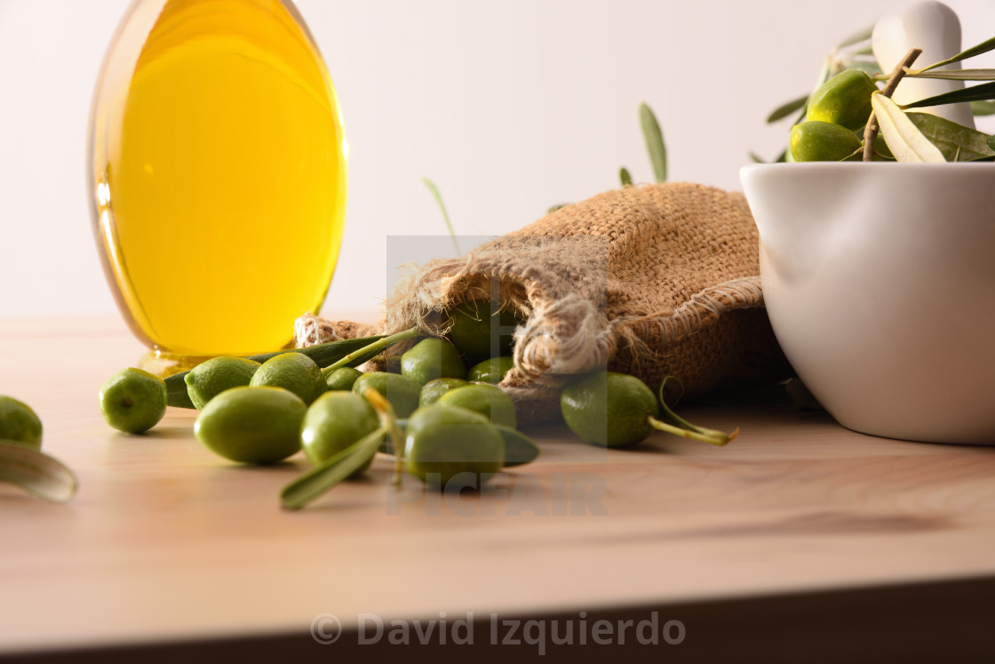 """Sack with raw olives and olive oil front view"" stock image"