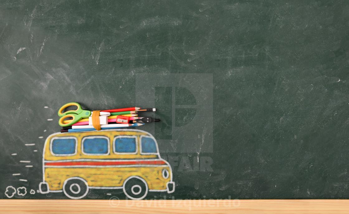 """School creativity with bus drawn on blackboard"" stock image"