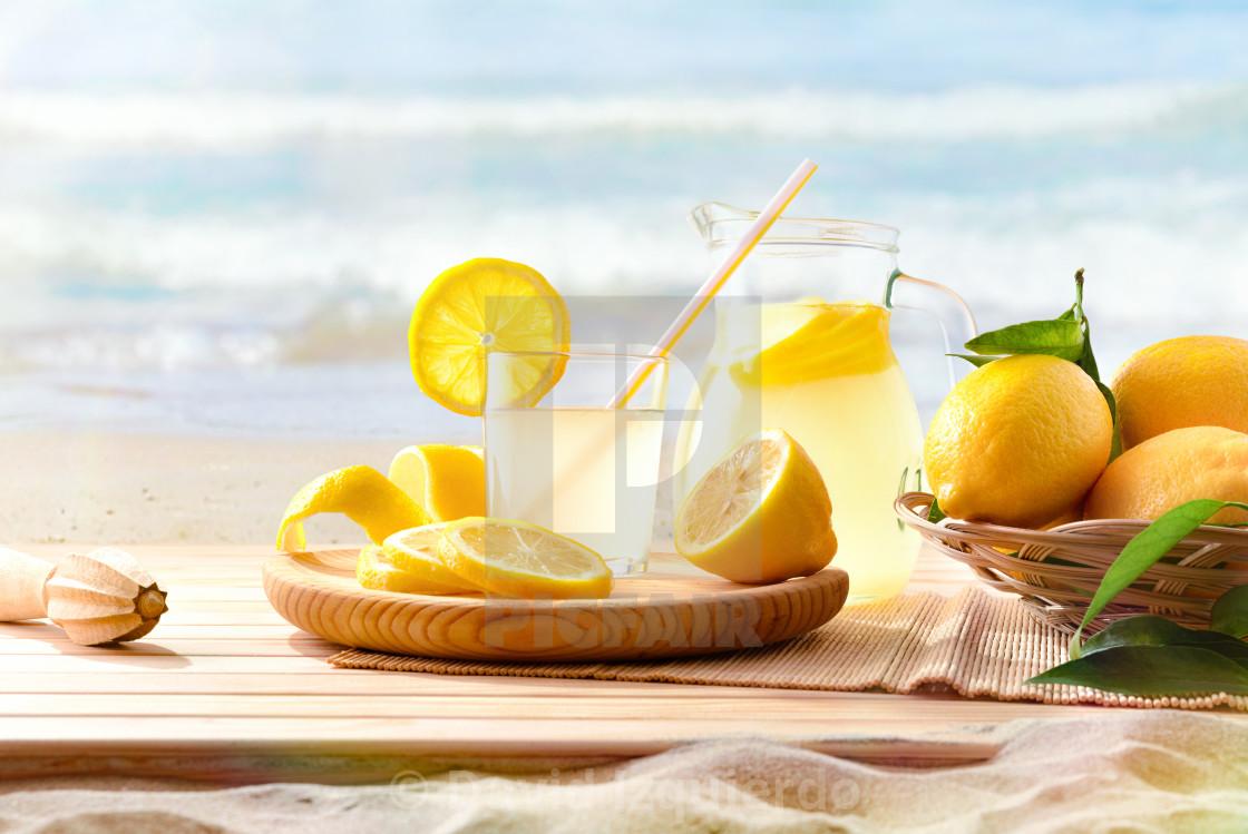 """Freshly squeezed lemonade on the beach"" stock image"
