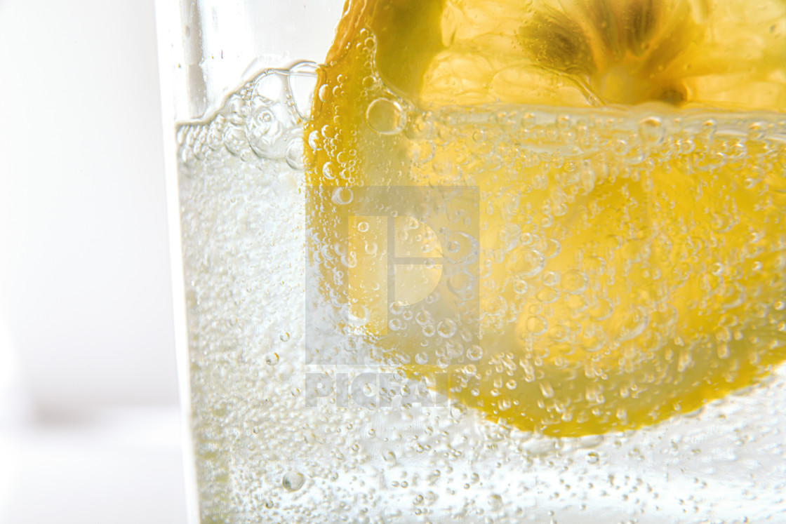 """""""Glass with sparkling water and lemon slice"""" stock image"""